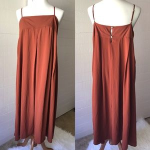 Who What Wear Pleated Empire Waist Rust Maxi Dress